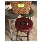 Bar stools and basket