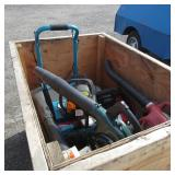 Pallet of Blowers, Chain Saws, and Air Compressor