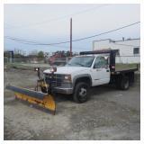 2001 Chevrolet C3500 Stake Truck w/ Plow