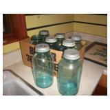 8 large Blue  Ball jars