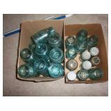 two boxes of blue Ball jars qts