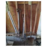 pitchforks, shovels