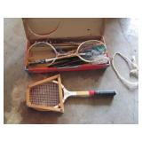 tennis racket and badminton set