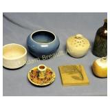 7 pieces assorted pottery - planters, vases,