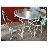 "3 piece wrought iron 30"" glass top table set,"