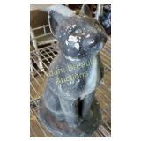 11 inch concrete black cat statue