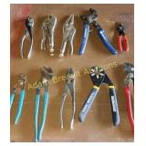 10 pairs assorted pliers, vice grips, channel