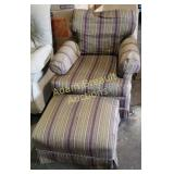 Purple and green striped setting chair with