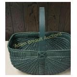 Green wicker basket,  8 x 14 x 8