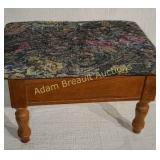 Wood storage footstool with padded lid