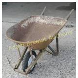 Steel wood handled wheelbarrow