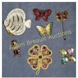 7 brooches-butterflies, fish, duck, flowers