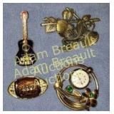 4 brooches - football, guitar, lizard, clock