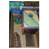 Custom built birdhouse, suet cake feeder,