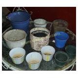 Box  lot - pottery, glass, plastic flower pots