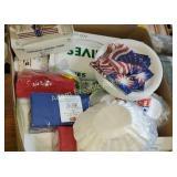 Box  lot -  napkins, plastic silverware, paper