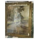 Antique Soldier print, frame showing patina for