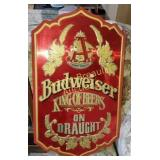 Budweiser king of beers on draught metal wall