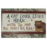 A cat lover lives here wall hanging, 5.5 X 12