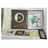 7 assorted prints and frames