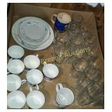 Box lot - glasses, coffee cups, plates