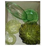 6 pieces vintage green depression & glassware