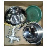 Box lot - assorted pots and pans, mixing bowl,
