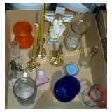 Box lot - candelabras, vases, glassware