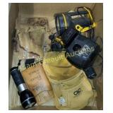 Leather tool belts & pouches, flashlights,