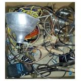 Box of tools, wire, rope, heat lamp, dog dish,