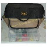 Canvas tool bag and storage box with assorted