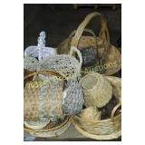 Box of assortment of wicker baskets