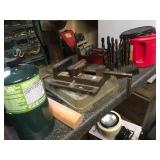 Small torch, vise, drill bits