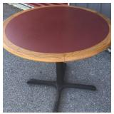 "Single pedestal round table 42"", burgundy color"