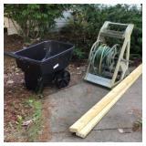 Garden cart , hose reel with hose,  2x 4