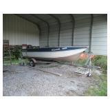 "1996 Smoker Craft aluminum 15.5"" fishing boat w/Mercury 25hp. Mercury 4 stroke and EZ Loader trailer"