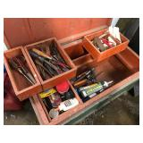 Carpenters box on wheels with tools