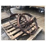 2 steel wagon wheels