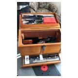 Wood tool box with gun cleaning kit