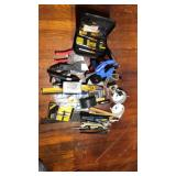 Box lot garage items, tools