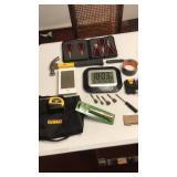 DeWalt tool bag,  batteries, clock