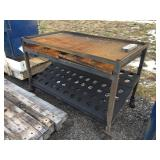 metal cart on wheels grate top
