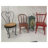 Three chairs and cabinet