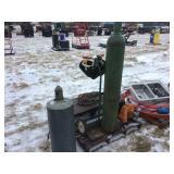 Oxy-acetylene tanks- cart- hoses- shields- No Gauges
