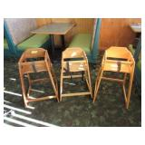 Group of 3 booster chairs, various heights
