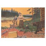 Early Painting on Canvas, Scene Depicting Bear