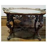 Highly carved lamp table wiith inlay floral design