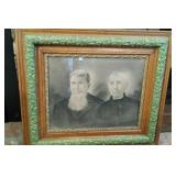 Oak frame with vintage picture of man & woman