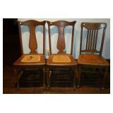 3 Oak Straight Back chairs, 2 matching,