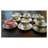 Cups & Saucers, 9 sets, Lefton, Queen Anne